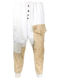 Greg Lauren Distressed Patched Track Pants White