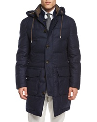 Brunello Cucinelli Wool Blend Long Parka With Removable Hood Navy