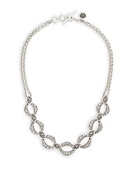 Lois Hill Double Chain Statement Necklace Silver