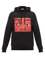 J.W.Anderson Jw Anderson Graphic And Text Print Cotton Hooded Sweatshirt Black Red