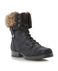 Camelot Fur Cuff Lace Up Calf Boot Black