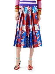 Gucci Union Jack Corsage Silk Skirt Blue Ivory