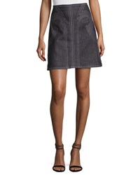 Derek Lam Geometric Laced Chambray Mini Skirt Indigo