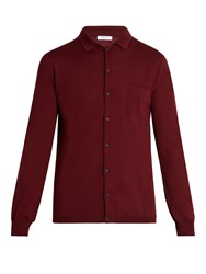 Boglioli Point Collar Wool Cardigan Red