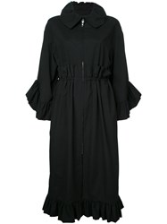 Goen.J Ruffle Trim Coat Black