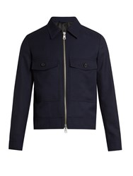 Ami Alexandre Mattiussi Point Collar Zip Through Wool Jacket Navy