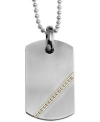 Macy's Diamond Dog Tag Pendant Necklace 1 6 Ct. T.W. In Stainless Steel And 14K Gold