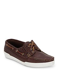 Eastland Textured Tie Up Leather Boat Shoes Chocolate