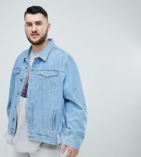 Jacamo Stone Wash Denim Jacket Blue