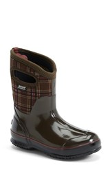Women's Bogs 'Classic Winter Plaid' Mid High Waterproof Snow Boot With Cutout Handles 1 1 2' Heel