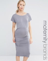 Isabella Oliver Short Sleeve Ruched Bodycon Dress Grey