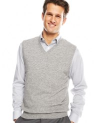 Club Room Men's Big And Tall Cashmere Solid Sweater Vest Grey Heather