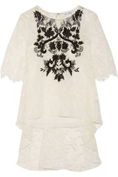 Oscar De La Renta Embroidered Lace Top White