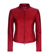 Emporio Armani Leather Bomber Jacket Red