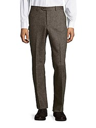 John Varvatos Joplin Luxe Heathered Wool Dress Pants Brown Tan