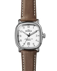 Shinola 36Mm Guardian 3Hd Watch With Nut Brown Leather Strap