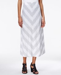 Kensie Chevron Print Maxi Skirt Heather Fog Combo