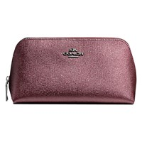 Coach Leather Cosmetic Case Metallic Cherry