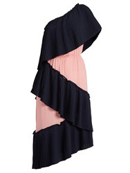 Marco De Vincenzo Tiered Bi Colour Pleated Dress Pink Navy