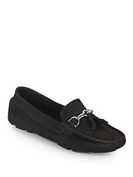 Saks Fifth Avenue Tassel Horsebit Suede Loafers Black