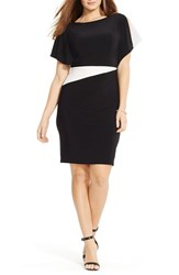 Plus Size Women's Lauren Ralph Lauren Two Tone Jersey Flutter Sleeve Sheath Dress
