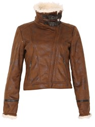 Izabel London Faux Sheepskin Biker Jacket With Buckles Tan