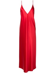 Off White Long Slip Dress Women Polyamide Polyester Triacetate S Red