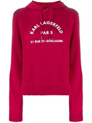 Karl Lagerfeld Address Logo Hoodie Red