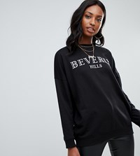Missguided Tall Beverly Hills Slogan Sweat In Black