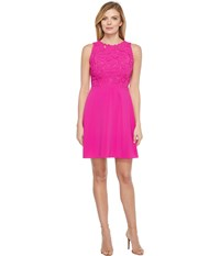 Laundry By Shelli Segal Embroidered Mixed Fabric A Line Sheath Dress Electric Pink Women's Dress