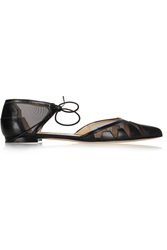 Bionda Castana Denni Leather And Mesh Point Toe Flats Black