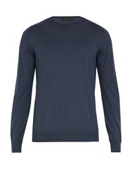 Prada Long Sleeved Cashmere Blend Sweater Navy