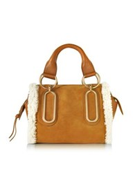 See By Chloe Paige Hazel Suede And Leather Satchel Bag W Eco Shearling Detail Brown
