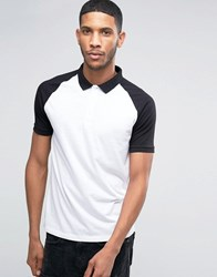 Asos Polo Shirt With Contrast Collar And Sleeves In White Black White Black