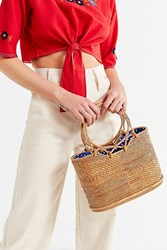 Urban Outfitters Circle Handle Straw Bucket Bag Neutral
