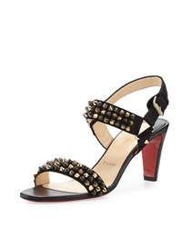 Christian Louboutin Bikee Bike Two Strap Red Sole Sandal Black