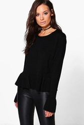 Boohoo Ruffle Sleeve And Hem Jumper Black