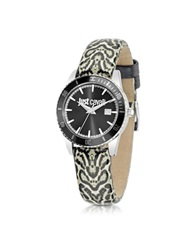 Just Cavalli Just In Time Animal Print Stainless Steel Women's Watch W Leather Strap Black