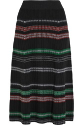 Kenzo Striped Wool Blend Midi Skirt