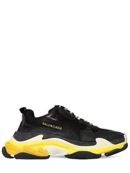Balenciaga Triple S Suede Leather And Mesh Sneakers Black
