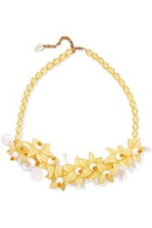 Red Valentino Redvalentino Bead And Acrylic Necklace Yellow