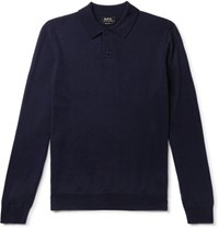 A.P.C. Jerry Merino Wool Polo Shirt Navy