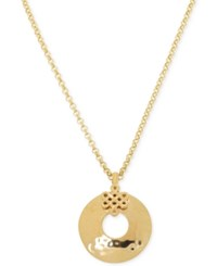 Macy's Hammered Open Disc Pendant Necklace In 10K Gold