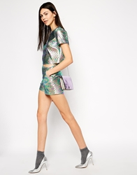 Lashes Of London Oil Print Quilted High Waist Short Multi