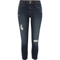 River Island Womens Petite Dark Blue Distressed Amelie Jeans