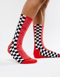 Huf Socks With Large Racing Logo In Red