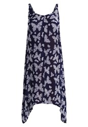 Evans Butterfly Hanky Maxi Dress Navy Blue Dark Blue
