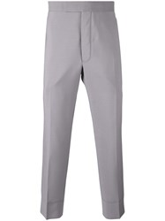 Thom Browne Cropped Tailored Trousers Men Mohair Wool 1 Grey
