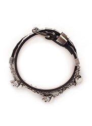 Alexander Mcqueen Skull Chain Double Wrap Python Leather Bracelet Animal Print