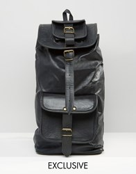 Reclaimed Vintage Leather Backpack In Black Black
